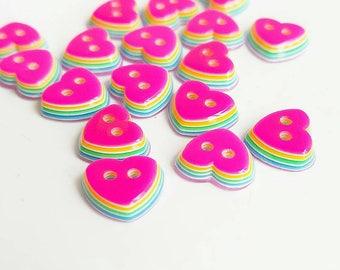 Hot Pink rainbow heart buttons 💗
