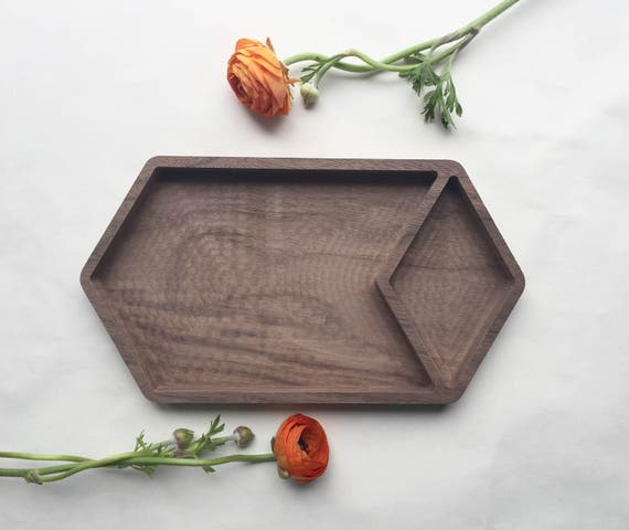 FACETS walnut catchall desk organizer