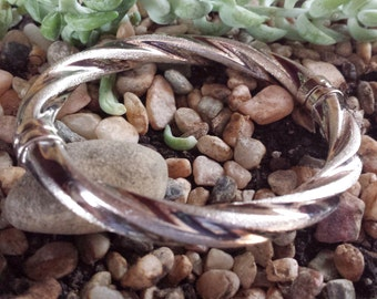 Sterling Twisted Bangle Bracelet Italy