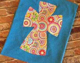 Cross Applique Shirt, Cross Mandala Print T-Shirt, Cross Shirt, Mandala Shirt, Fabric Cross Shirt, Short Sleeve Tee, Sale, Spring T-Shirt