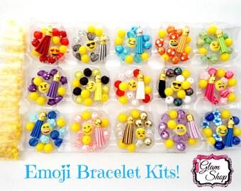 "Emoji Party Favors DIY Bracelet Kits- Makes 15 Bracelets - Birthday Party Favors Emoji Beads Emoticon Birthday Party ""Colorful Version"""