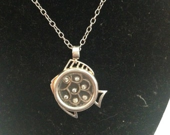 Nice sterling silver fish pendant with 18 inch sterling silver chain