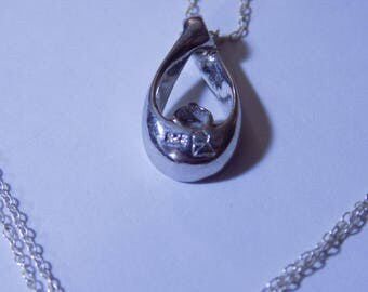 Sterling Silver necklace and pendant with gorgeous muti-colored cz stone