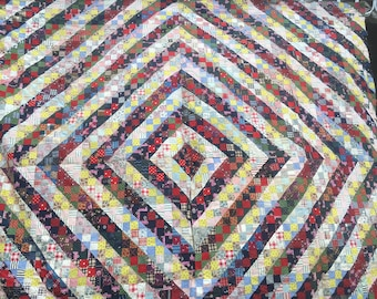 Antique Primative Country Hand Sewn Variation Trip Around The World Quilt Top Reduced from 450.00 to 300.00 Very Unusual excellent condition