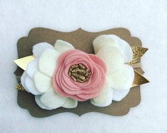 Rose and Gold felt flower crown headband/babygirl/toddler/child/Pink and Gold/Felt Flower Crowns/Felt Flower Headband/flower crown