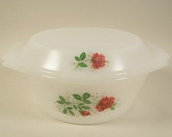 Arcopal France casserole, serving dish, ovenware, milkglas, red roses