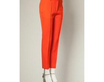Vintage orange Céline paris reptile printed slim fit pants