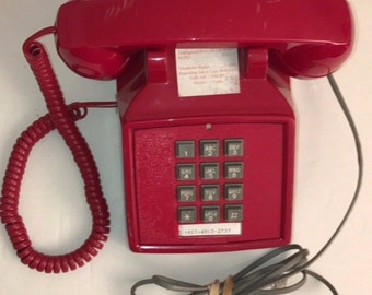 Cortelco Red Push Button Corded Desk Telephone Phone Vintage Retro Style