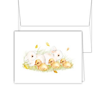 10 Blank Note Cards | Baby Shower Thank You Cards | All Occasions Note Cards | Blank Greeting Cards | Bunny Greeting Cards
