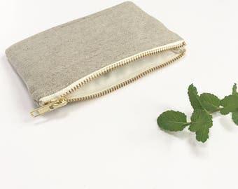 Ecofriendly coin purse, Organic Hemp and purse Natural twill organic cotton lining Vanilla metal zip