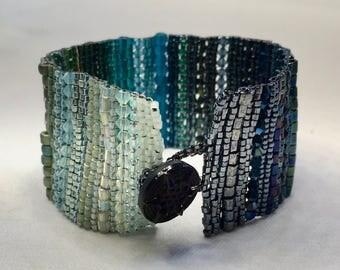 Blue-Green Ombre Hand-Woven Beaded Bracelet