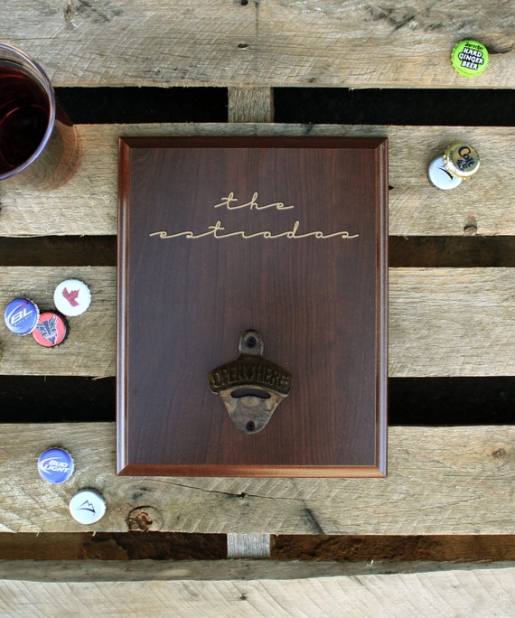 personalized wood sign bottle opener wall mounted bottle by etchey. Black Bedroom Furniture Sets. Home Design Ideas