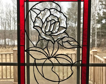 Stained Glass Beveled Rose Flower Window, Clear Textured Glass Panel, Red Glue Chip Glass Border, Window Hanging, Glass Art Window, decor