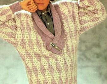 Original Womens Ladies Knitting Pattern HARLEQUIN Shawl Collar Dolman Batwing Diamond Jumper City Chic 1980s Designer with Style 0953