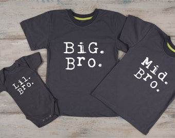 Sibling Shirts Set of 3, Big Brother Middle Brother Little Brother Outfits, Big Bro, Mid Bro & Lil Bro Matching Brother Outfits