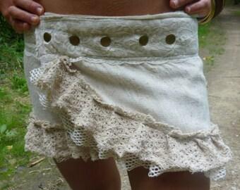Bohemian Beige and Cream short skirt cotton crochet lace material.