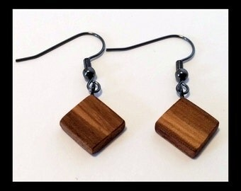 mahogany zebrano square pendant earrings anniversary gift handmade wood jewelry