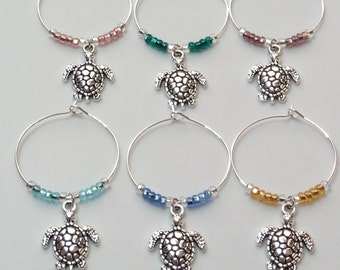 Sea Turtle Wine Charms | Sea Turtle lovers gift under 10