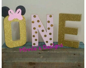 Minnie mouse table letters,Minnie mouse 1st birthday, Minnie mouse gold & pink birthday,Minnie mouse photo shoot prop,Minnie mouse    gold