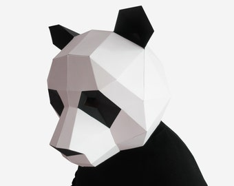 Panda Mask, DIY printable Animal Head, Instant Pdf download, DIY New Year Mask, Printable Mask, 3D Pattern, Polygon Masks