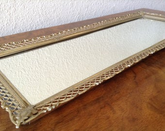 Vintage Mirror Tray, Gold Filigree  Perfume Tray, Nail Polish Tray, Candle Tray, Dresser Tray