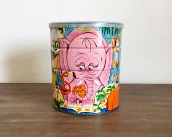 Vintage Coffee Tin; Jungle Animals; Children's Room Decor; Metal Storage Tin; Animal Tin