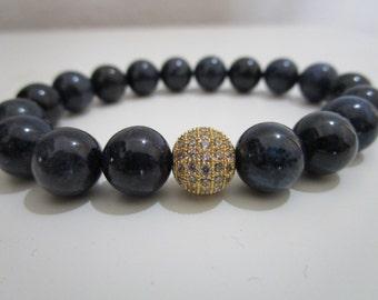 Dumortierite bracelet, bracelet, semi-precious stones, Micropave cubic zirconium, gift, gift for women, Womens bracelet, beaded bracelet