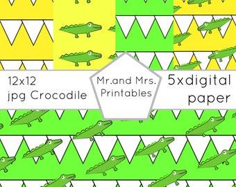 Digital paper, Printable pack, 12x12 jpeg,Crocodile paper, digipaper, five colors,green yellow, scrapbook paper,Crocodile