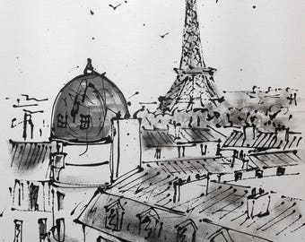 """Painting """" The roofs of Paris """""""