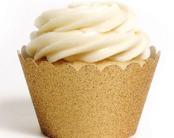 Gold Glitter Cupcake Wrappers - Cupcake wrappers Set of 12