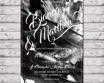 Modern Watercolour Calligraphy Wedding Invitation - Print at Home File or Printed Invitations - Wedding Invite - Black and White