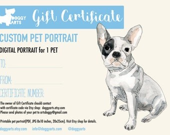 Custom pet portraits and gift for dog cat lovers by doggyarts gift certificate last minute gift christmas gift dog portrait gift idea yelopaper Gallery