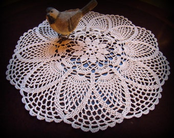 """Ecru/Natural Crochet Doily--Flower Center and Pretty Pineapples--14""""--Free Shipping"""