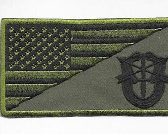 Green Beret US Army Vietnam era Special Forces Unit Crest acu Subdued or  VELCRO