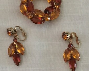 Vintage 1950s Topaz and Rootbeer Earrings and Brooch