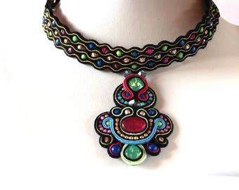 Colourful Soutache Necklaces, Soutache Statement Necklaces, Handmade Soutache Necklaces, Luxury Necklaces, Gift For Daughter,Elegant Jewelry