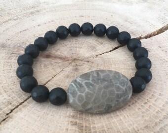 Large Oval Petoskey Stone & Black Faceted Onyx Beaded Bracelet