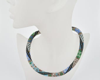 Bead crochet necklace green meets blue - Beaded crochet rope - crochet necklace