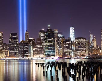 Tribute in Light 2015, Panorama, New York City, Brooklyn Bridge Park, Night, Long Exposure, Brooklyn