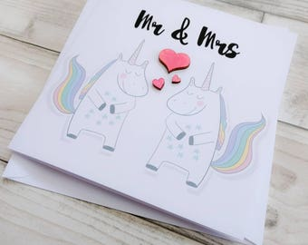Handmade cute unicorn wedding card with wooden hearts - Mr and Mrs, Mr and Mr, Mrs and Mrs