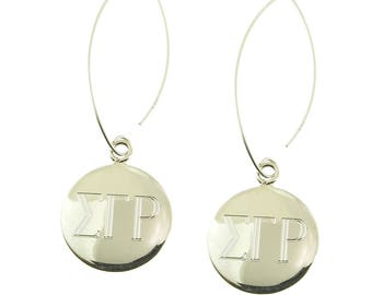 925 Sterling Silver Round Monogrammed Greek Sorority Letters Dangle Earrings