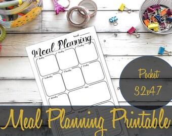Meal Planning Pocket Insert, Printable Pocket Inserts, Shopping List, Pocket Filofax Pages, Pocket Refills, Pocket Pages, Printable Inserts
