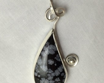 Snowflakes at Midnight Snowflake Obsidian and Sterling Silver Pendant