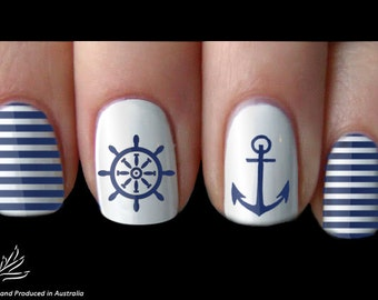 Anchor Sailor Navy Nail Art Sticker Water Transfer Decal 05