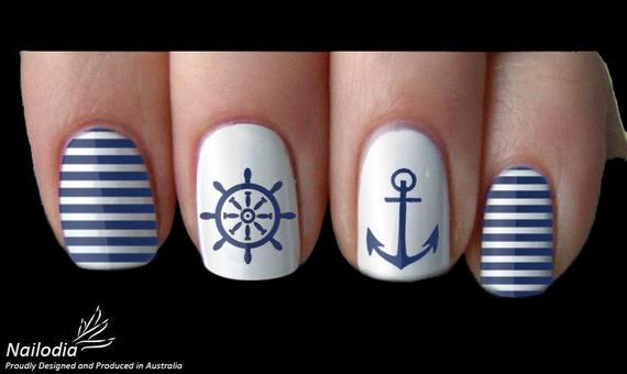 Anchor Sailor Navy Nail Art Sticker Water Transfer Decal 05