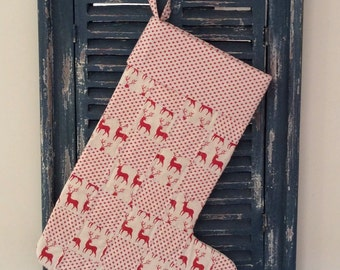 Christmas Stocking - Quilted Patchwork Christmas Stocking (Reindeer and Stars) - Stocking - Quilted Stocking - Patchwork  Stocking,