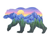Bear and Mountain Art Giclee Print - Colorful Sunset Grizzly Bear Illustration - Color Pen Drawing - 8x10