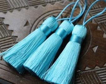 Light Sapphire Blue Tassel, Blue Tassel, Sapphire Blue, Blue Silk Tassel, Silk Jewelry Tassel, Handmade Silk Tassel, Earring Tassel, AB066