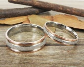 Personalized Fingerprint Rings, Handmade Rose Gold Matching Wedding Bands, Unique Couple Rings Set, Titanium Rings, Anniversary Rings Set