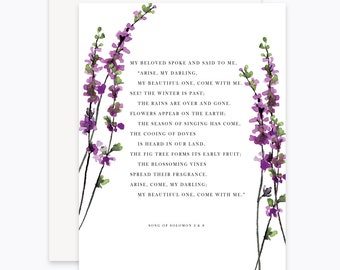 Anniversary Card/Wedding Card/Printable Card/Song of Solomon/Floral Card/Watercolor Anniversary Card/Watercolor Flowers/Bible Verse/Lavender